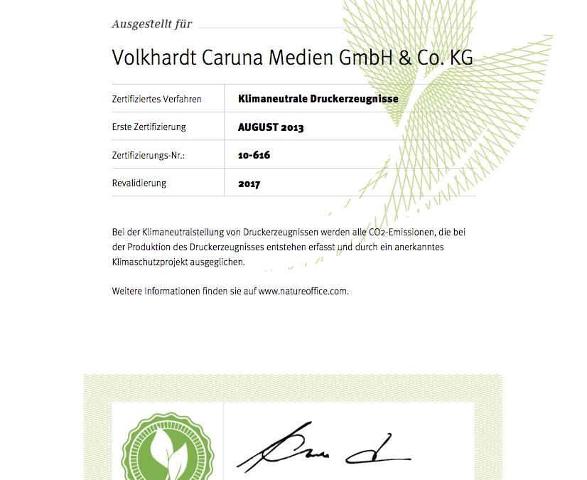 Zertifizierung: Klimaneutrale Druckerzeugnisse